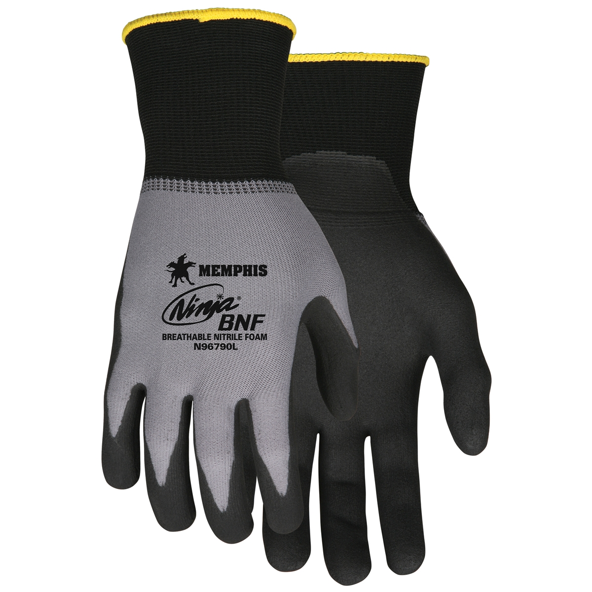 N96790 : Memphis Ninja Gloves - 15 Gauge Nylon/Spandex Knit - Nitrile Foam Coated Palm - Black and Gray