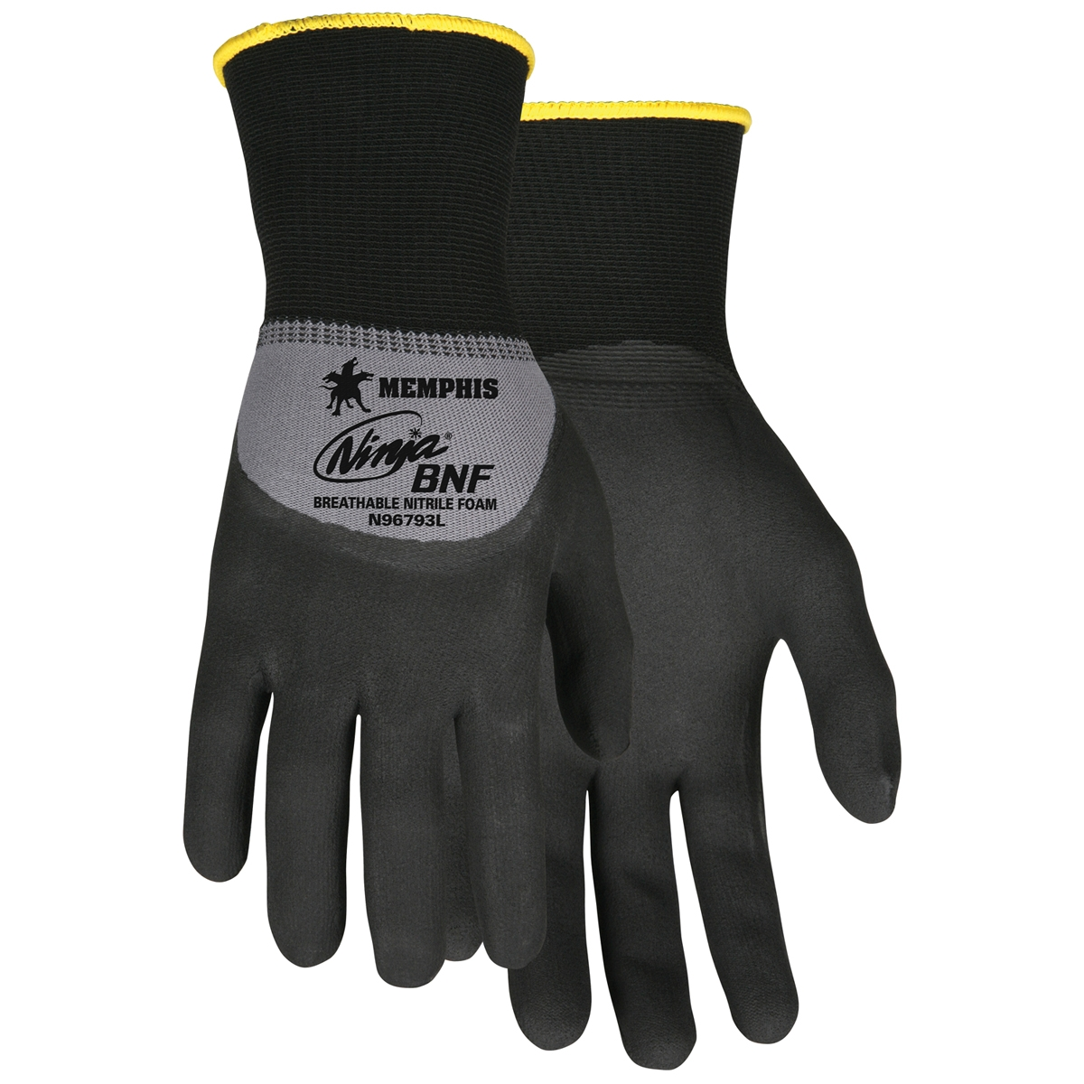 N96793 : Memphis Ninja Gloves - 15 Gauge Nylon/Spandex Knit - Nitrile Foam Coated Palm and Knuckle - Black